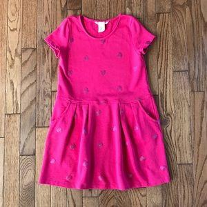 H&M Girls pink short sleeve dress 6/8